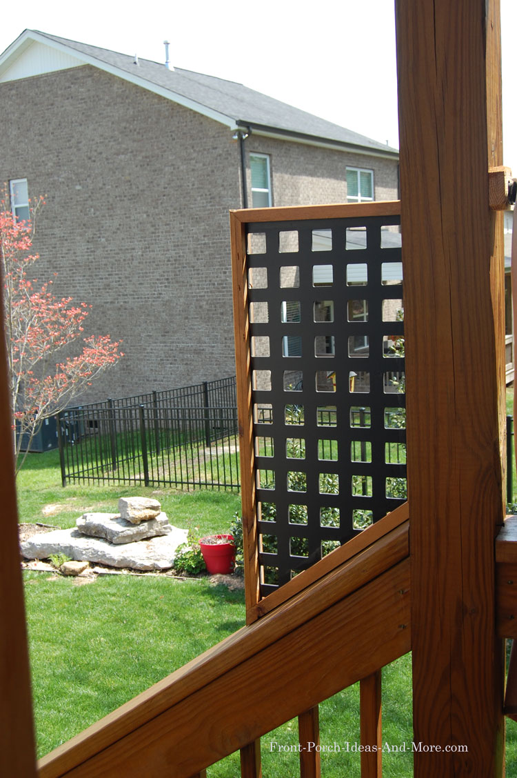 lattice privacy panel on stair railing