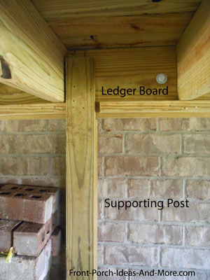 porch ledger board supported by post