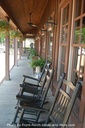 porch full of rocking chairs in Lieper's Fork