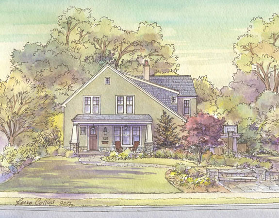 original watercolor of home by leisa collins