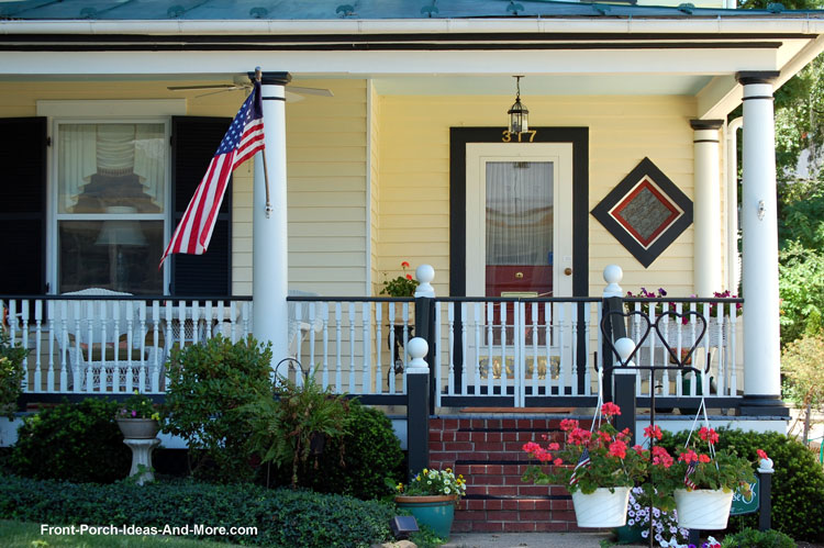 quaint porch with combination front porch railing