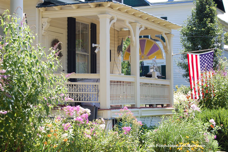 classic front porch with baluster gate over steps