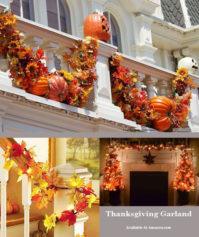 thanksgiving lighted fall garland