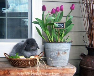 bunny in basket with milk jug filled with spring flowers for Easter