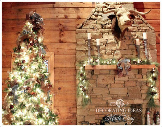 Striking Christmas tree and stone fireplace in this log cabin home