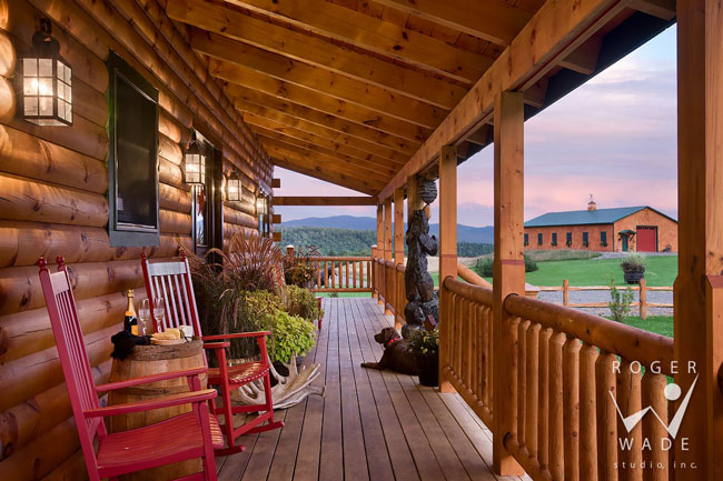 Log home pictures log home designs timber frame home for Log cabin porch