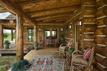 log home with large front porch