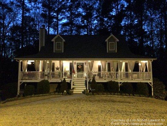 Barn star on porch at Lori's house at nighttime - beautiful