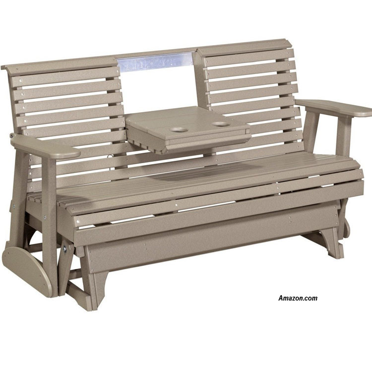 tan luxcraft recycled plastic porch glider