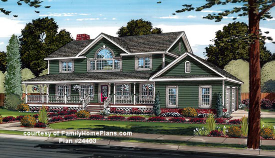 luxury home plan with porch from FamilyHomePlans.com #24403