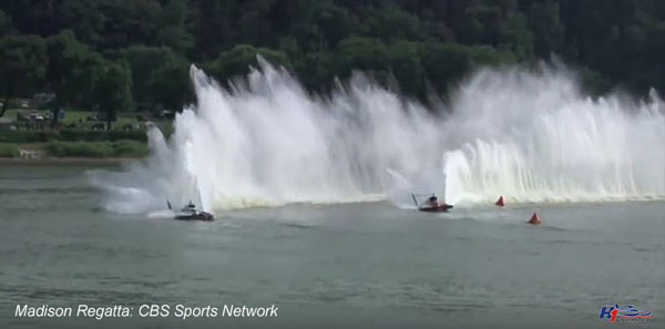 two hydroplanes racing in Madison Indiana Regatta