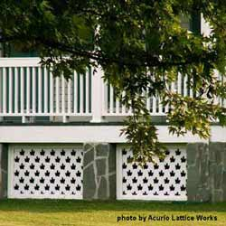 custom designed front porch skirting with maple leaf design