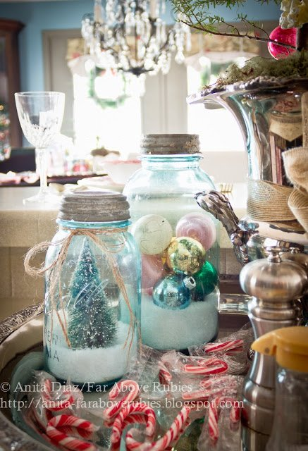 Vintage mason jars with snow and old-fashioned ornaments