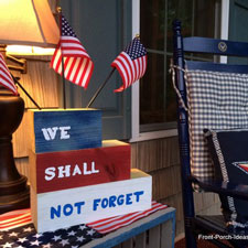 memorial day display on front porch