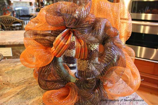 gathered mesh attached to wreath