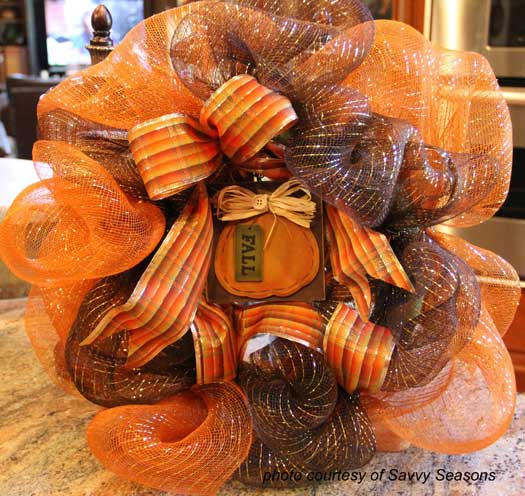 mesh wreath with pumpkin sign attached