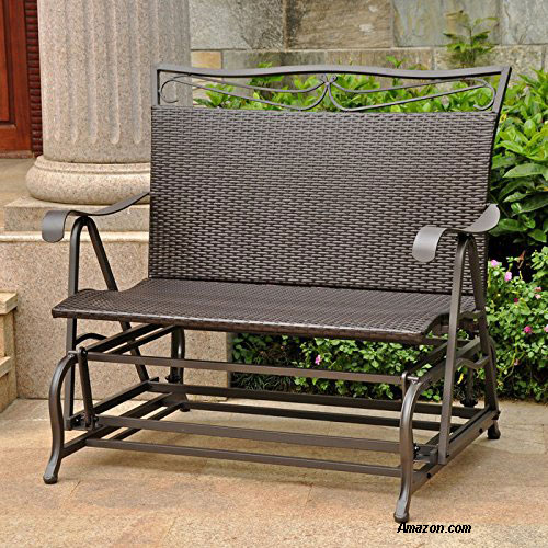 metal framed wicker glider