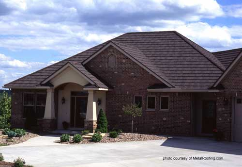 Metal roof on brick home