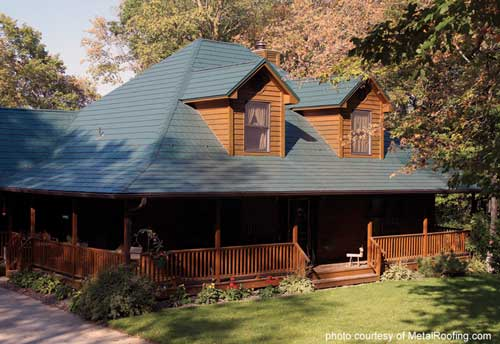 Metal Porch Roof - shingle slate on lovely log cabin home