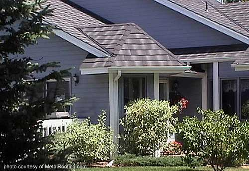Metal Porch Roof - shingle slate on blue home
