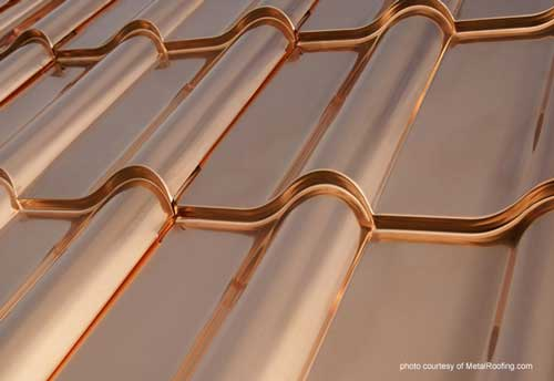 Copper metal roof material over time takes on a patina finish