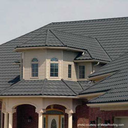 grey metal roof over front porch