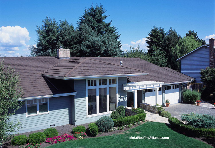 Metal Porch Roof - shingle slate on contemporary blue home