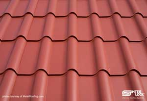Metal roof - tiles close-up