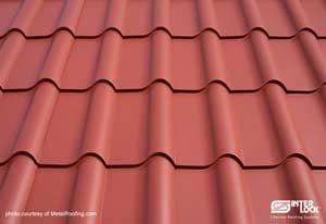 Metal roof - tiles close-up