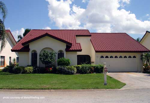 Metal Porch Roof - metal tiles on a southwest style home
