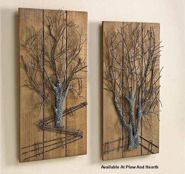 metal tree wall art on wood