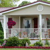 mobile home porch with skirting
