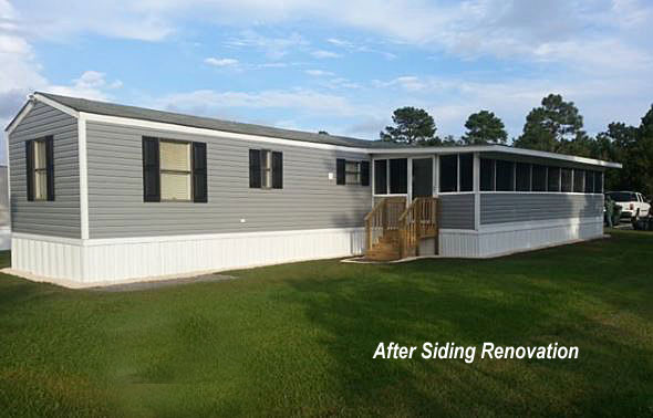 new vinyl siding and screen porch addition on mobile home
