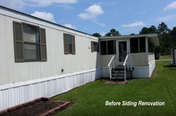 mobile home with siding in disrepair - Home Exterior Siding