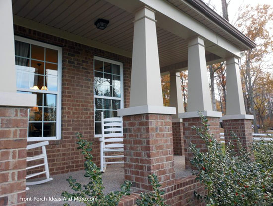 craftsman style columns on model home