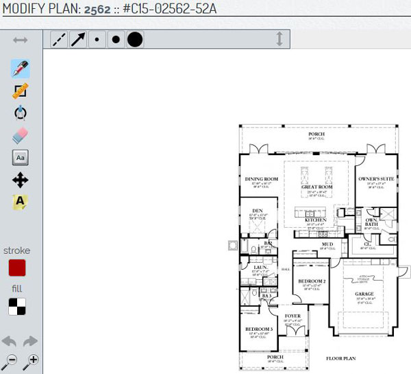 screenshot depicting interactive home plan design tool
