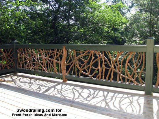 mountain laurel railing with natural newel post