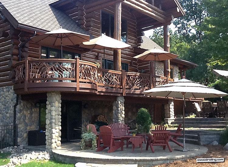mt laurel wood railings on porch steps