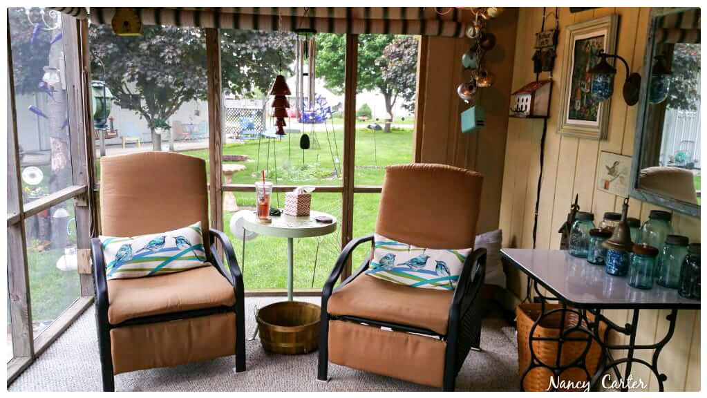 Nancy's friendly back porch looks oh so comfortable