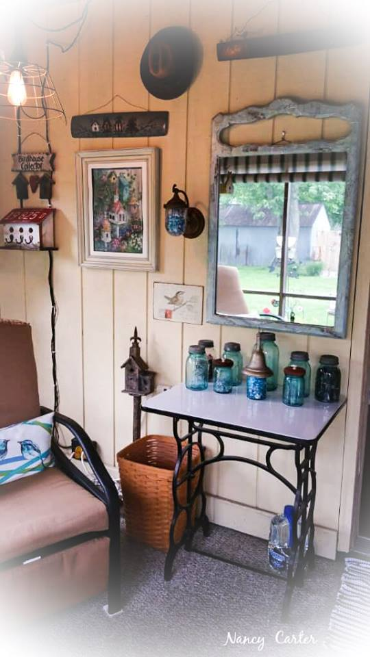 Nancy's friendly back porch decorated with collections and a touch of vintage