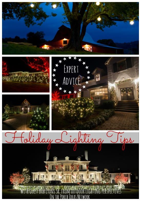 collage of Christmas light displays by Outdoor Lighting Perspectives and shared on Front Porch Ideas and More