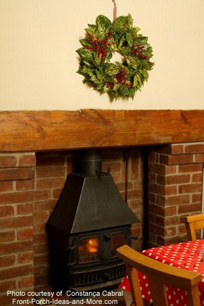 natural christmas wreath on display