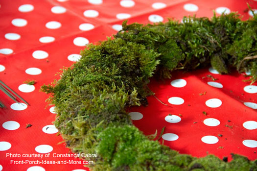 frame wrapped with moss