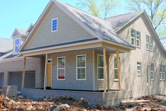 brick and shakes on new home