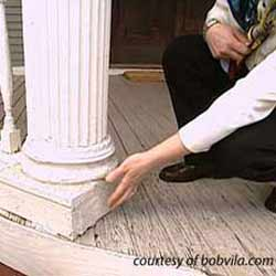 rotting porch column