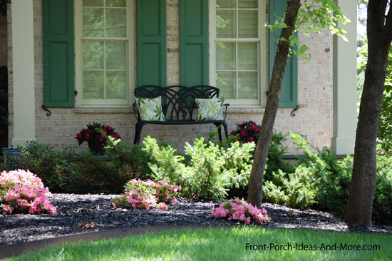 garden front porch with beautiful front yard landscaping