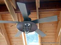 an outdoor ceiling fan on porch