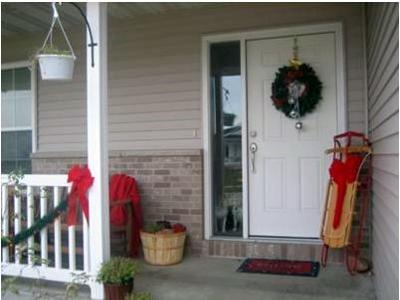 my decorated front porch for christmas