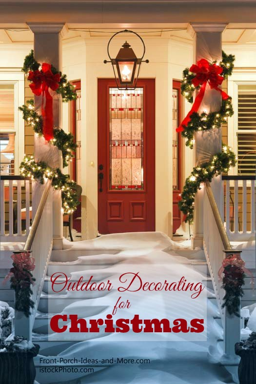 gorgeous front porch decorated for christmas
