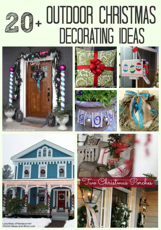 collage of christmas porch decorating ideas